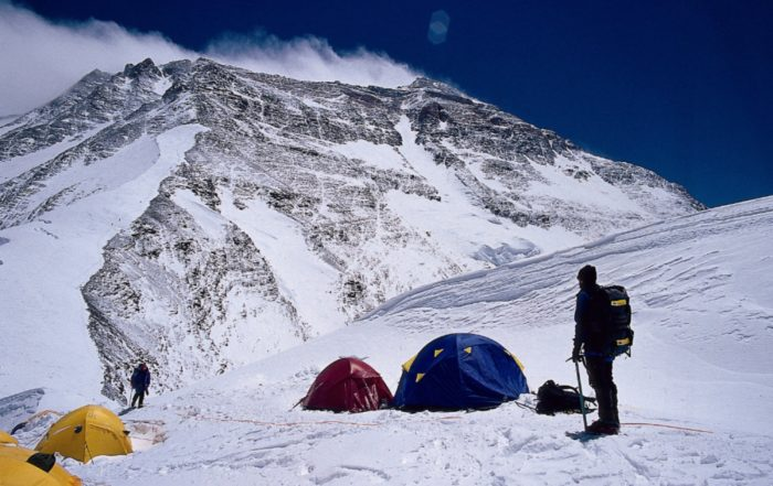 At the north col on the north side of Everest