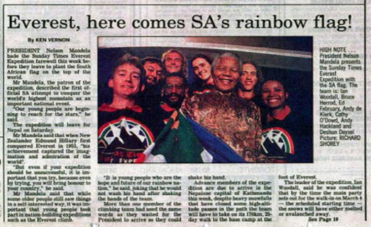 Newspaper clipping: here comes SA's rainbow flag!