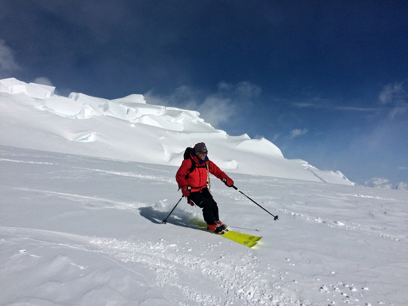 Skiiing down after a load drop