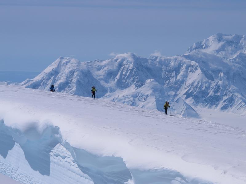 Mount Logan negotiating crevasses