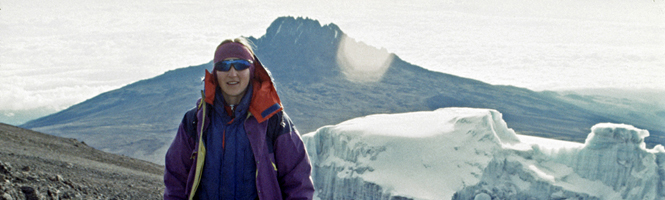 Cathy O'Dowd on the summit plateau of Kilimanjaro