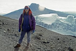 Cathy O'Dowd on the summit plateau of Kilimanjaro.