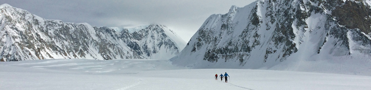The team sets out from basecamp to climb Mount Logan.
