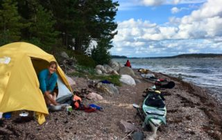 Cathy O'Dowd on a sea kayak trip in the Finnish archipeligo