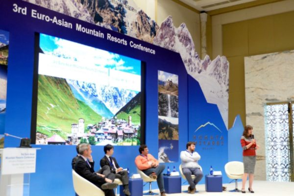 Cathy O'Dowd moderating the UNWTO Euro-Asian Mountain Resorts Conference