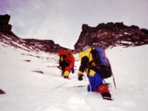 Sandy Allan and Pemba Sherpa in the Lhotse couloir