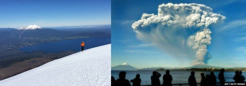 Left: my photo of Chalbuco from Osorno. Right: A APF/Getty image of Chalbuco erupting, with Osorno visible on the left.