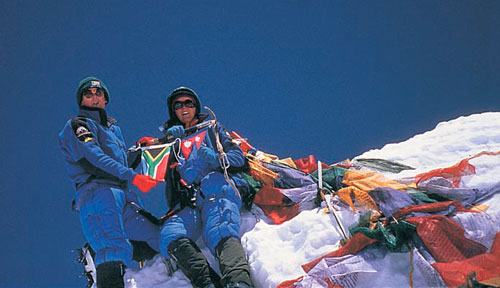 Ian Woodall and Cathy O'Dowd on the summit of Mount Everest.