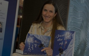 Cathy signing books