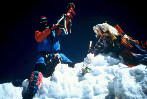Pemba Sherpa on the summit of Everest.
