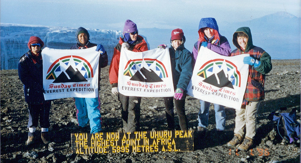 The six women on the summit of Kilimanjaro.