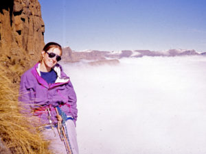 Cathy on the Angus Leppan route on the Sentinel, Drakensberg, South Africa