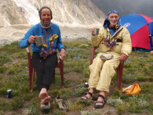 Sandy Allan (l) and Rick Allen at the Diamir Face basecamp, after their epic 18 day ascent of Nanga Parbat by the Mazeno ridge.