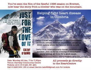 Poster promoting Cathy O'Dowd's Everest presentation to raise funds for the Cumbria Heart Centre.