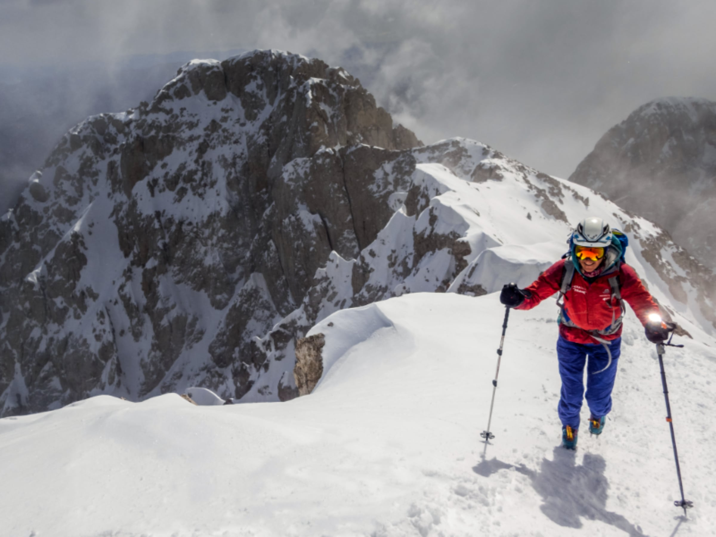 Cathy on Pedraforca in winter