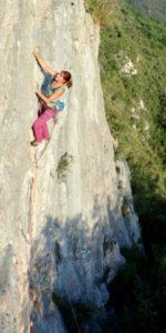 Cathy O'Dowd rock climbing in Spain