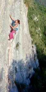 Cathy O'Dowd rock climbing in Spain.