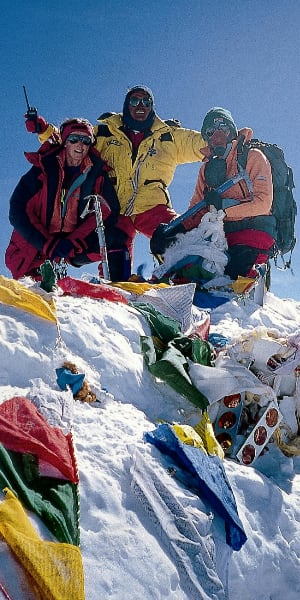 Cathy O'Dowd on the summit of Everest for the second time.