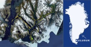 Planned route for Greenland kayak trip