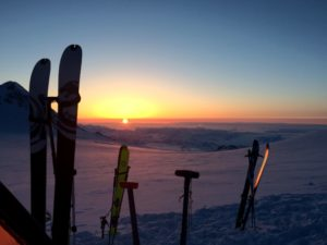 Sunset from the summit plateau of Mount Logan