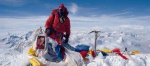 Jangbu on the summit of Everest