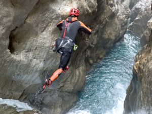 Cathy O'Dowd jumping into the Ordiso canyon in Spain