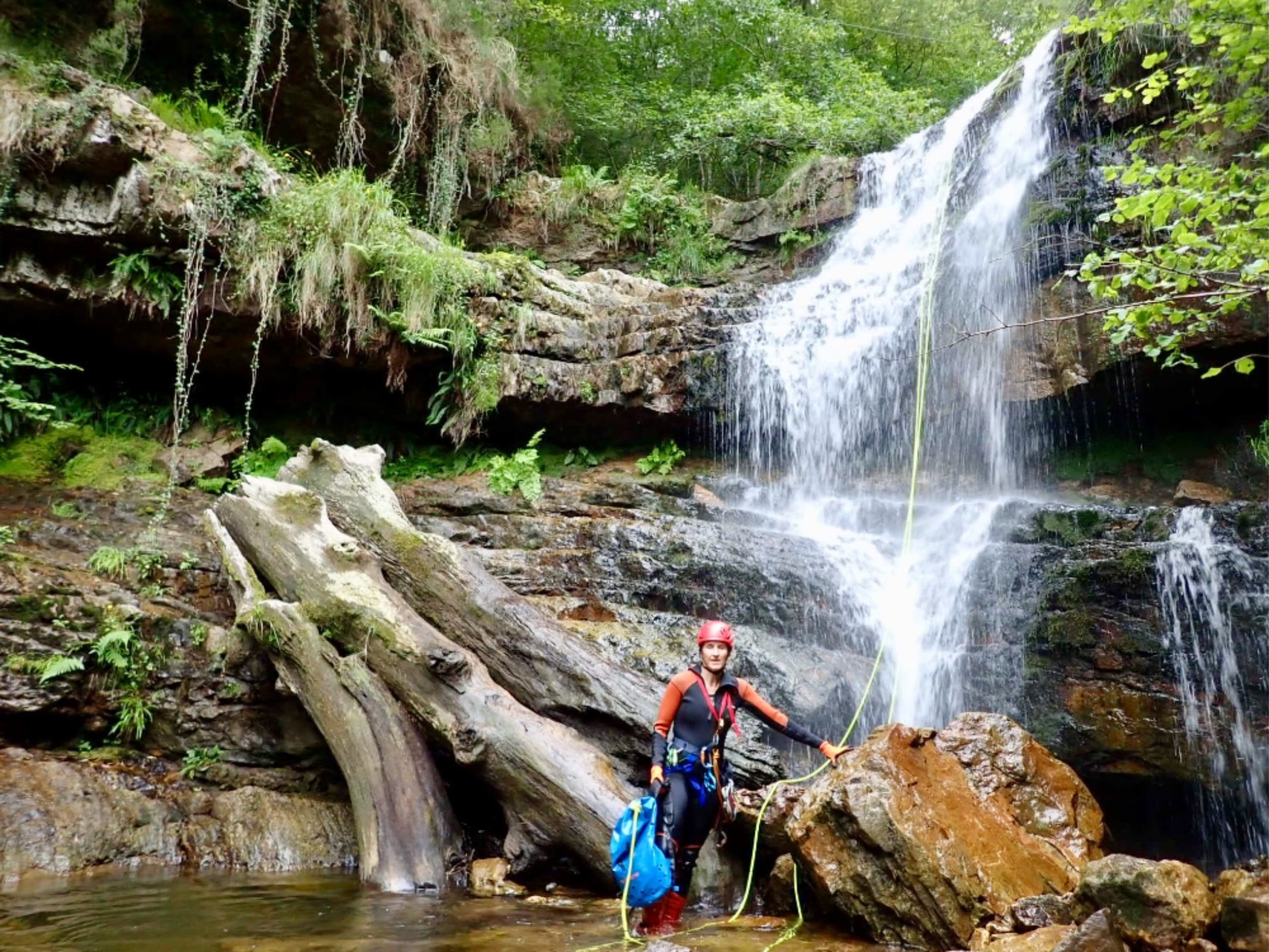 Cathy canyoning in Spain