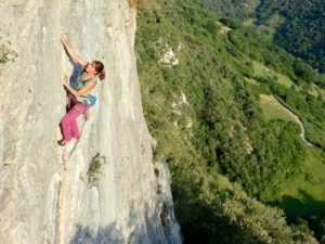 Cathy climbing in Spain
