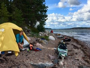 Cathy O'Dowd on a sea kayak trip in the Finnish archipeligo