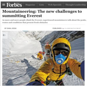 Cathy O'Dowd was interviewed for a Forbes India article on Everest in modern times